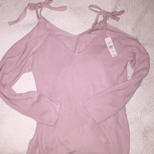 Loft periwinkle sweater with cut out shoulders